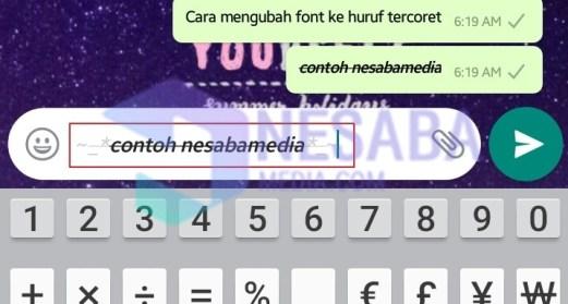 cara mengganti font whatsapp dengan font huruf tercoret