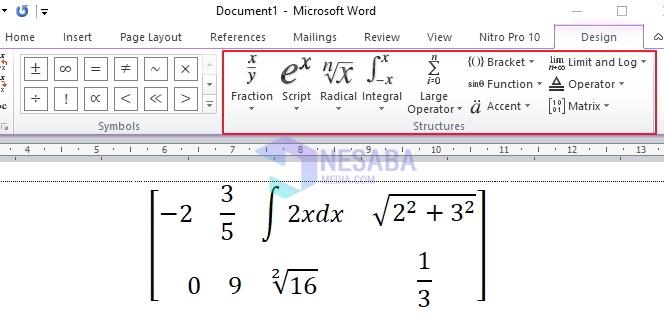 cara membuat matriks di word dan menambah ordo