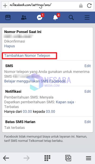 klik tambahkan nomor telepon
