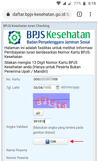 how to check the BPJS Health Online bill