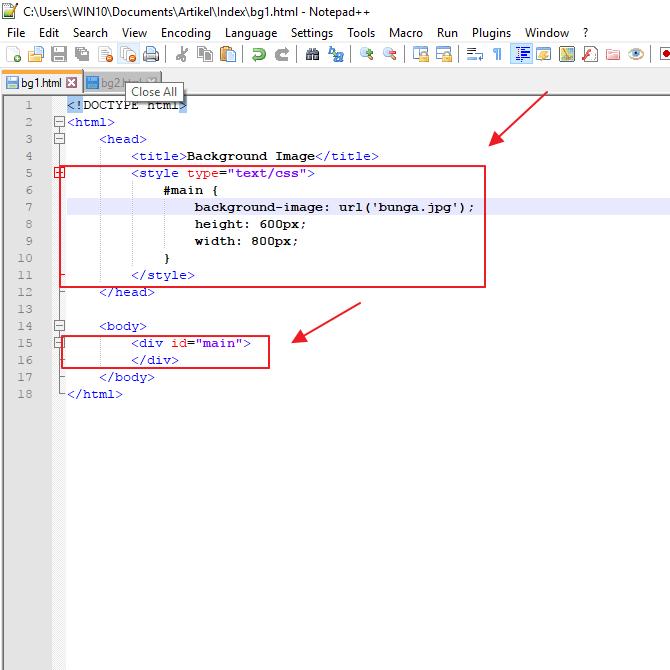 tutorial cara membuat background image di HTML