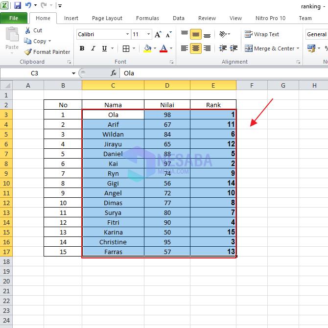Tutorial Cara Ranking di Microsoft Excel