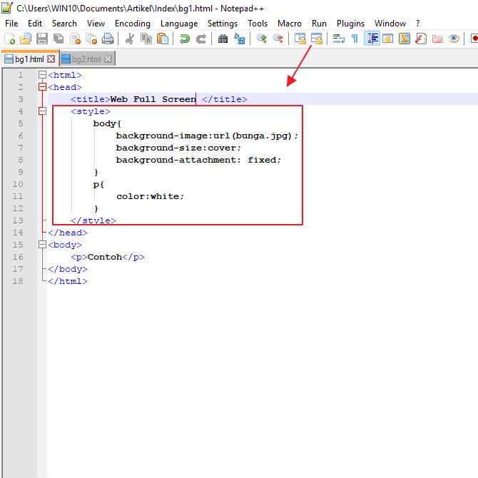 begini cara membuat background image di HTML