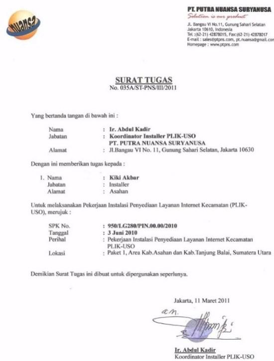 Contoh Surat Tugas Perusahaan