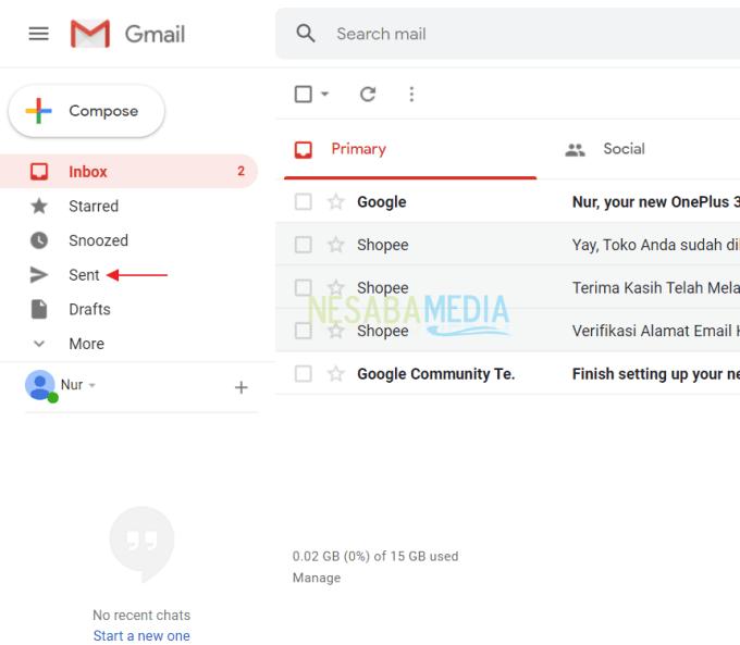 Menghapus Email yang Sudah Dikirim Laptop 3