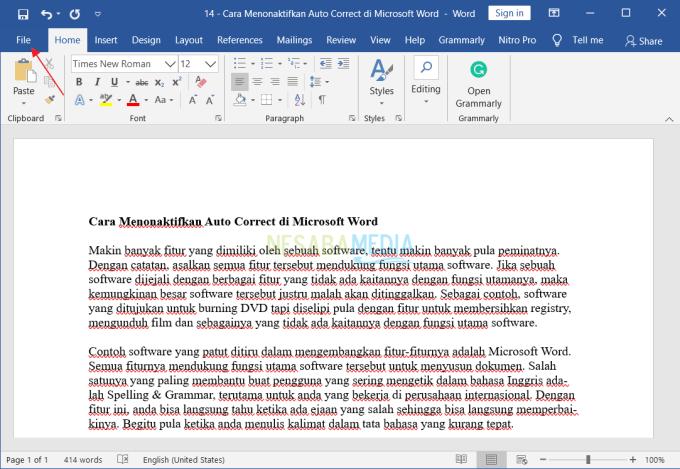 Menonaktifkan Auto Correct di Microsoft Word