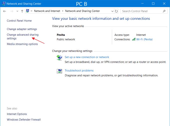 Setting PC B 1