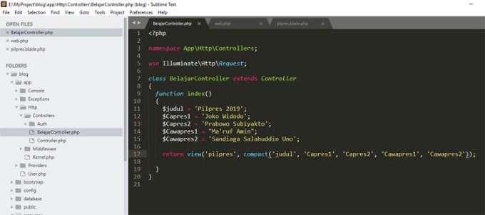 code belajarcontroller.php