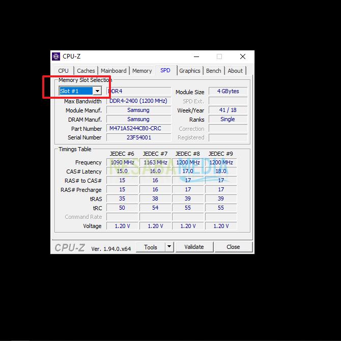 cek slot RAM