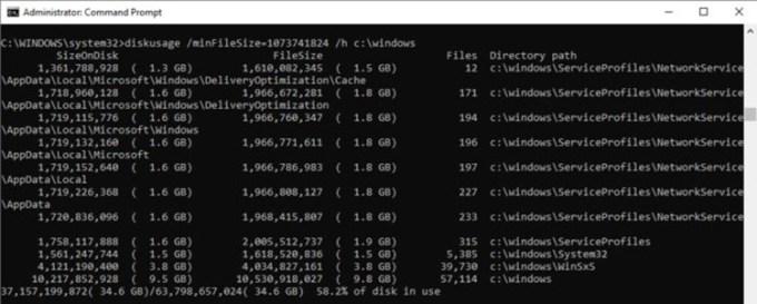 DiskUsage Tool Windows 10
