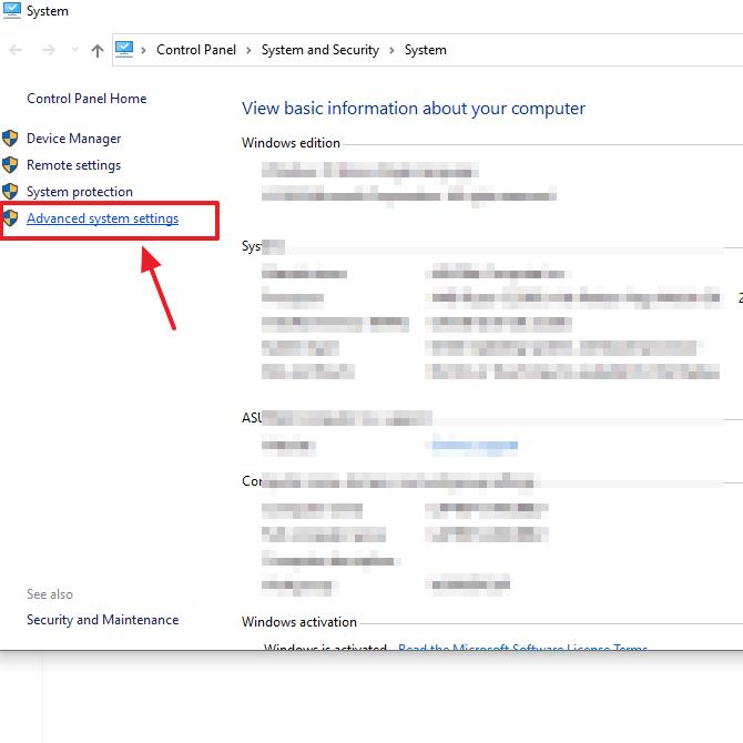 klik advanced system settings