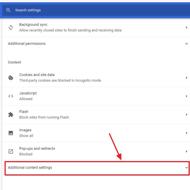 klik additional content settings
