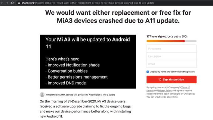 Petisi Xiaomi Mi A3 Android 11 Crash