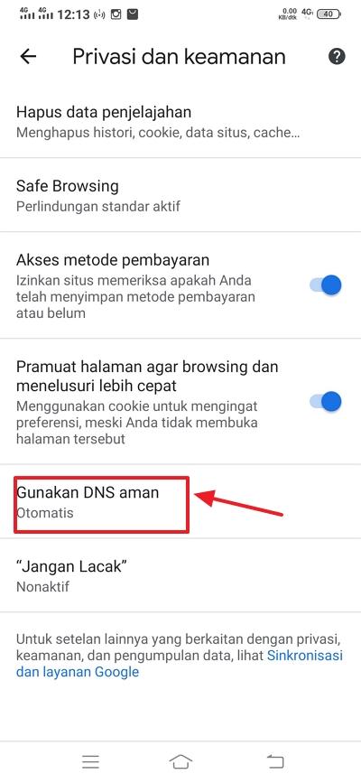 klik gunakan DNS aman