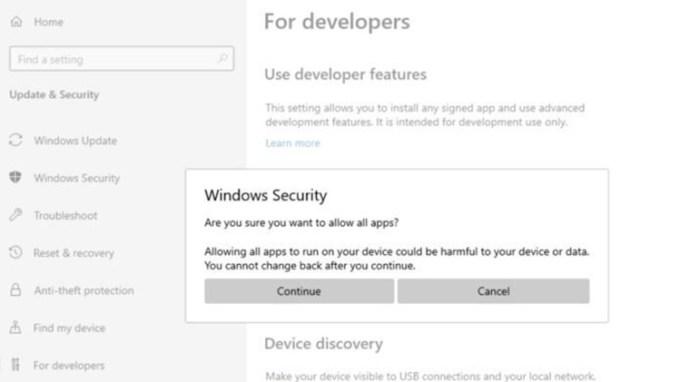 Tampilan Konfirmasi Pengaktifan Fitur Windows 10X