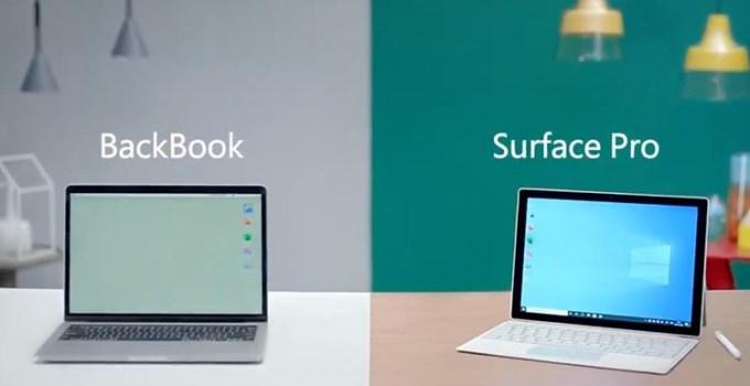 Microsoft Ejek MacBook Dengan BackBook di Iklan Surface Pro Terbarunya
