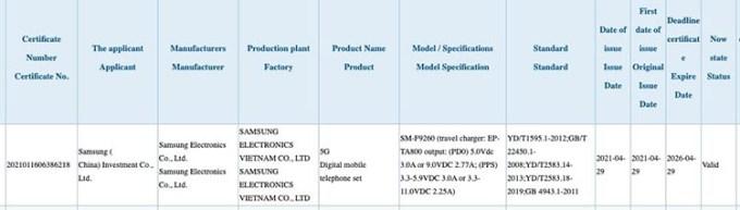 Sertifikasi 3C Samsung Galaxy Z Fold 3