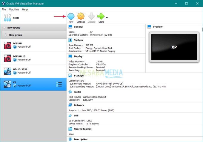 Buka aplikasi VirtualBox