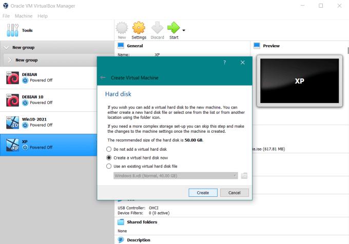 Create a virtual hard disk now