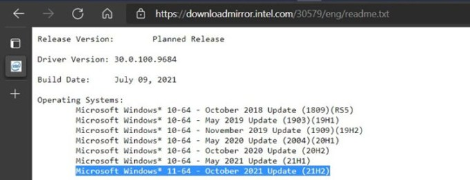 Catatan Rilisan Intel