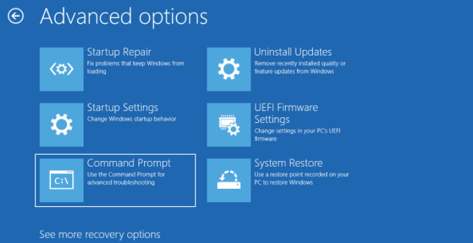 Cara Boot ke Advanced Startup Options di Windows 10