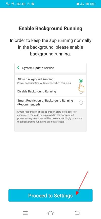 klik proceed to settings