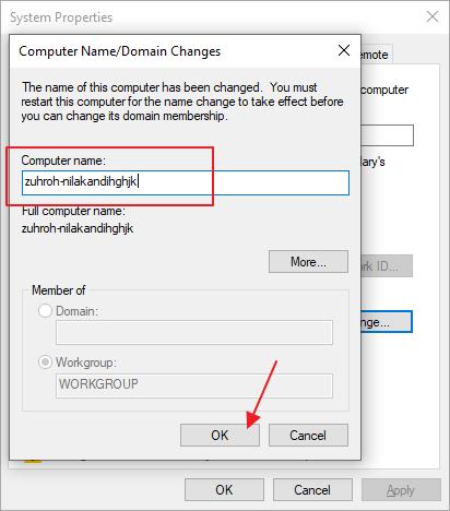 ubah nama komputer