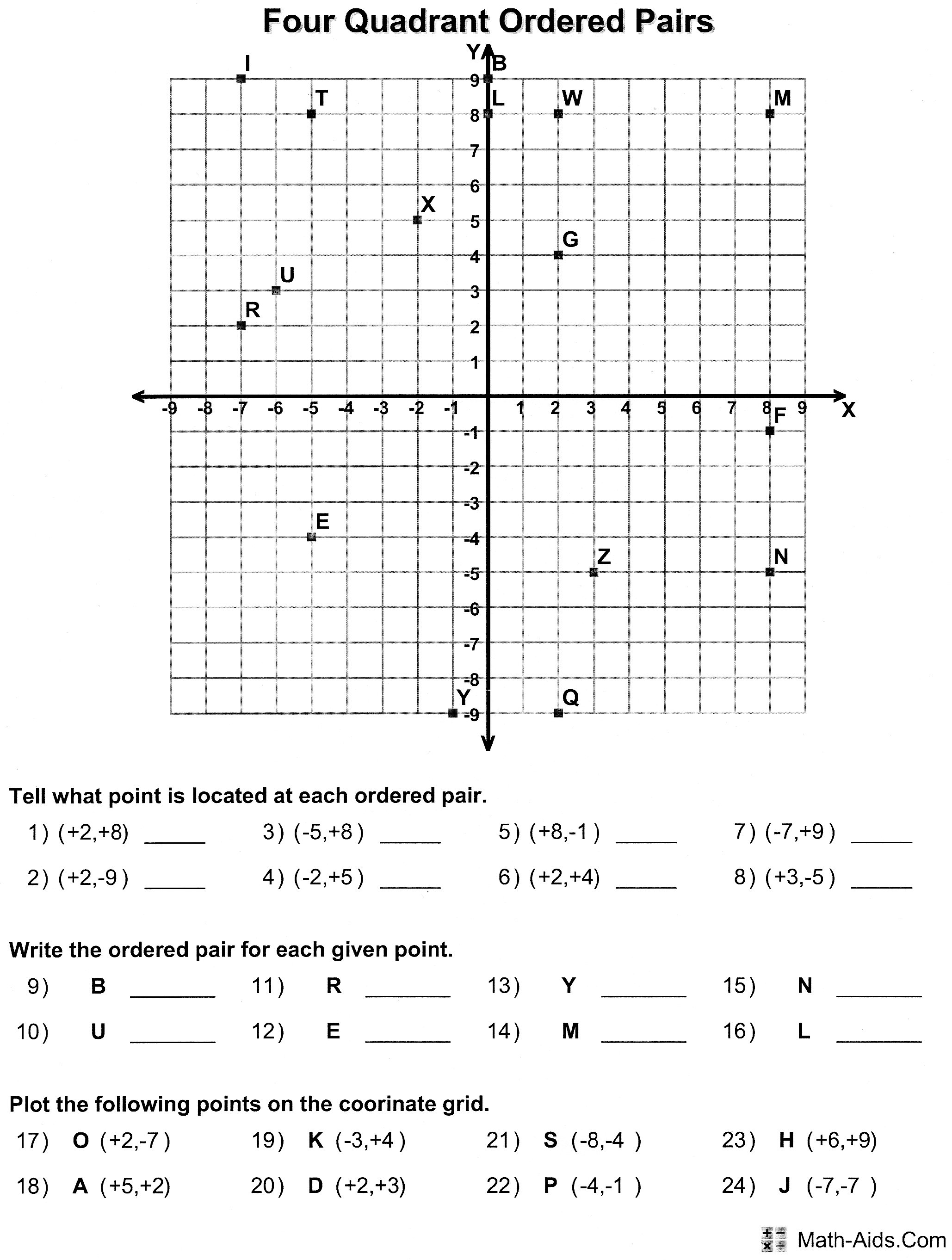 Free Ordered Pairs Worksheet
