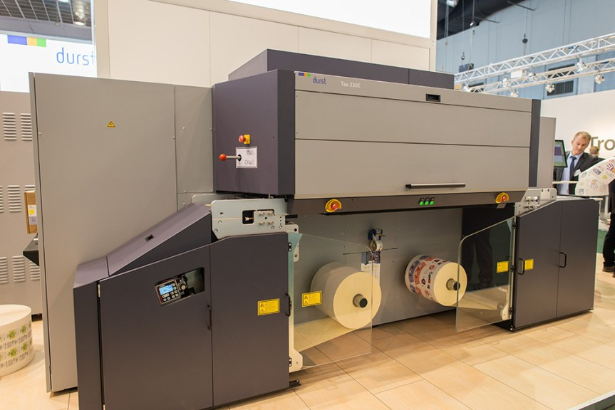 The new Durst Tau 330E label press, a five-colour industrial press that's designed to be cheaper to buy and to run.