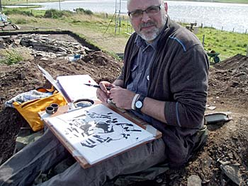 Rik our artist in residence on site today.