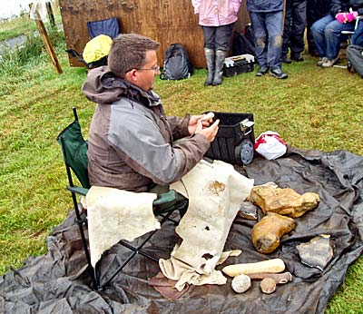 Hugo reveals yet another skill - flint knapping.