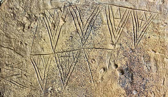 The main decoration panel on the new Ness of Brodgar Stone (Sigurd Towrie)