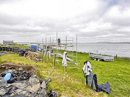 The scaffolding viewing platform nears completion, thanks to Orkney Scaffolding.