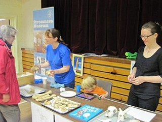 Sarah Jane and Jen set up their bone stall in the Stenness School to explain how bone evidence is used in archaeology.