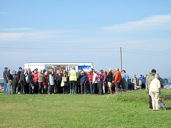 The first tour of the Open Day getting under way in brilliant sunshine (but it was very windy) this morning.