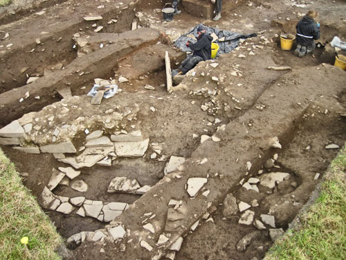 Some of the structural elements of the mysterious building under the midden heap in Trench T.