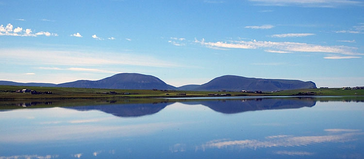 The hills of Hoy, viewed over the Stenness Loch.