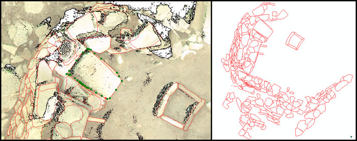 Left: stones traced in ArchGIS off of a Cyclone image; Right: The final plan/drawing of Structure Eleven after each stone was traced.