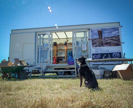 The site shop gets ready for business, under the watchful eye of its own canine mascot.