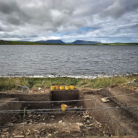 The bottom of Trench Y, looking out across the Stenness Loch towards Hoy.