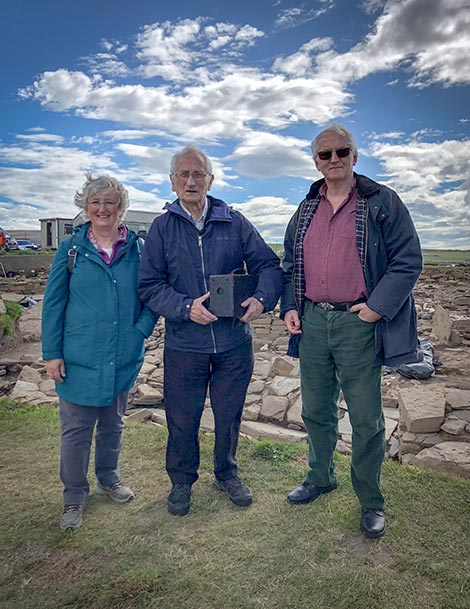 Peter Leith with the camera used to photograph the 'Brodgar Stone' in 1925. he is pictured with his son and daughter John and Pat.