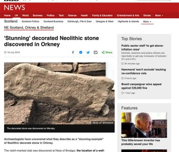 Link: 'Stunning' decorated Neolithic stone discovered in Orkney