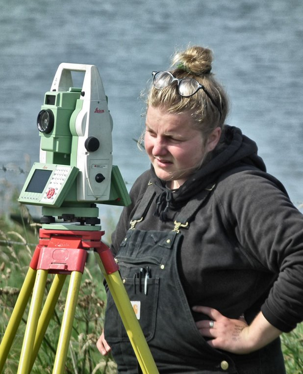 "And where would we be without Sierra. Ever-patient and the lynchpin of the excavations. Tirelessly zapping in finds, teaching students...and shouting ""okay"". The Total Station angel..."