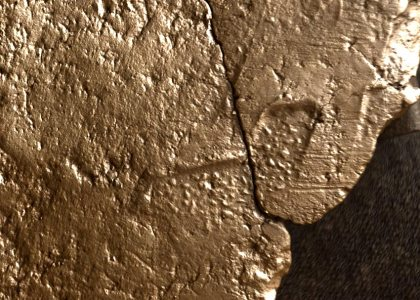 Close up of the textile impression on the interior of a Neolithic pot from the Ness of Brodgar. (NoBT)