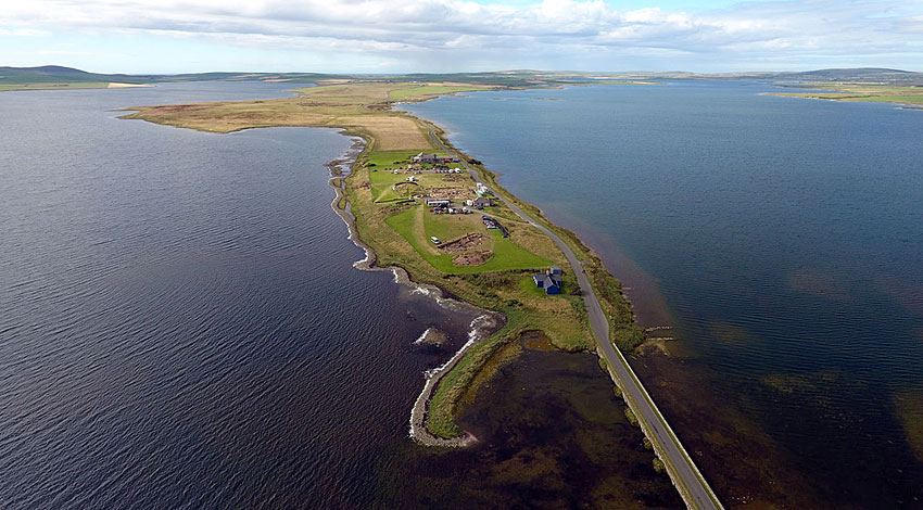 The Ness of Brodgar today, flanked by the Lochs of Stenness (left) and Harray (right). (Scott Pike)