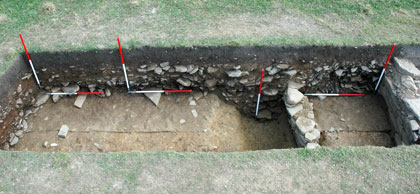Excavation confirms the presence of a ditch out the outside of the 'Great Wall of Brodgar'. (NoBT)