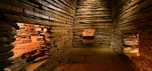 Interior of the Cuween chambered cairn, Firth, Orkney. (Jim Richardson)