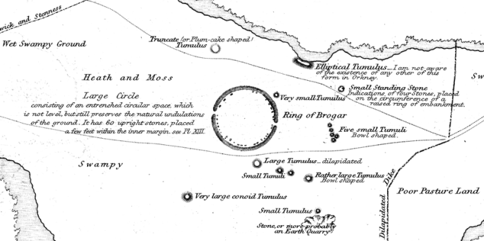 Captain Thomas' 1852 map showing the Ring of Brodgar and surrounding monuments.