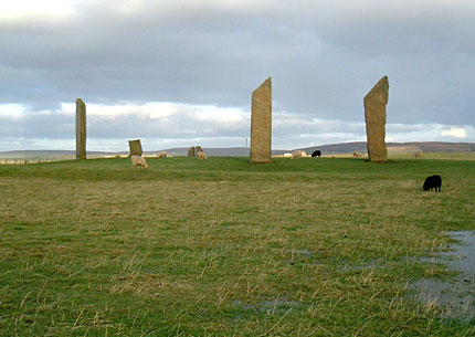 The Stones of Stenness. Note the dome mound on the interior of the stone circle. (Sigurd Towrie)