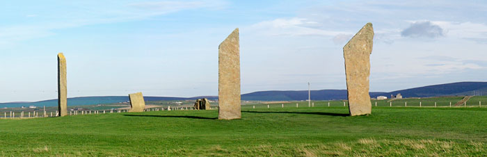 The Stones of Stenness. Note the domed mound in the interior of the circle. (Sigurd Towrie)